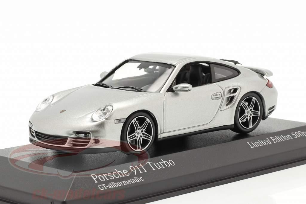 Porsche 911 (997) Turbo Ano de construção 2006 GT prata metálico 1:43 Minichamps