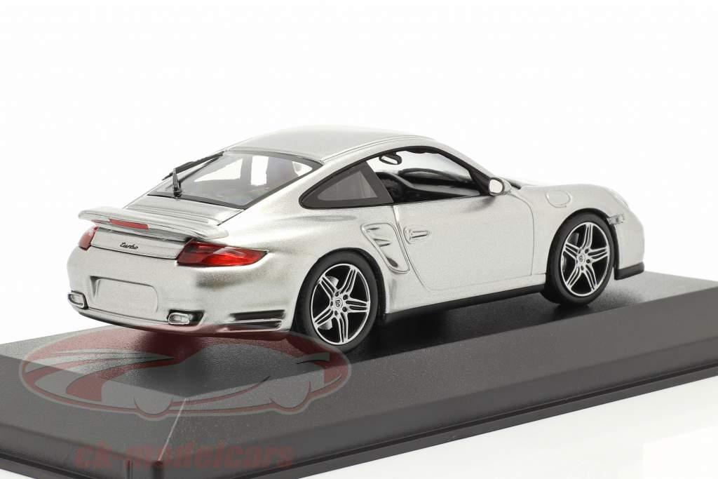 Porsche 911 (997) Turbo Bouwjaar 2006 GT zilver metalen 1:43 Minichamps