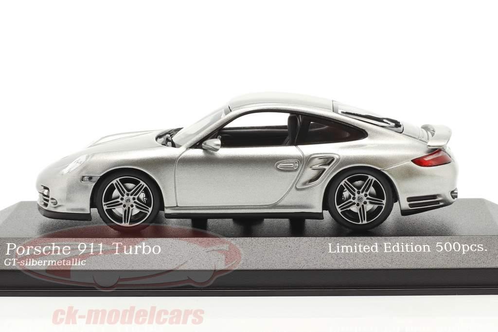 Porsche 911 (997) Turbo Baujahr 2006 GT-silber metallic 1:43 Minichamps