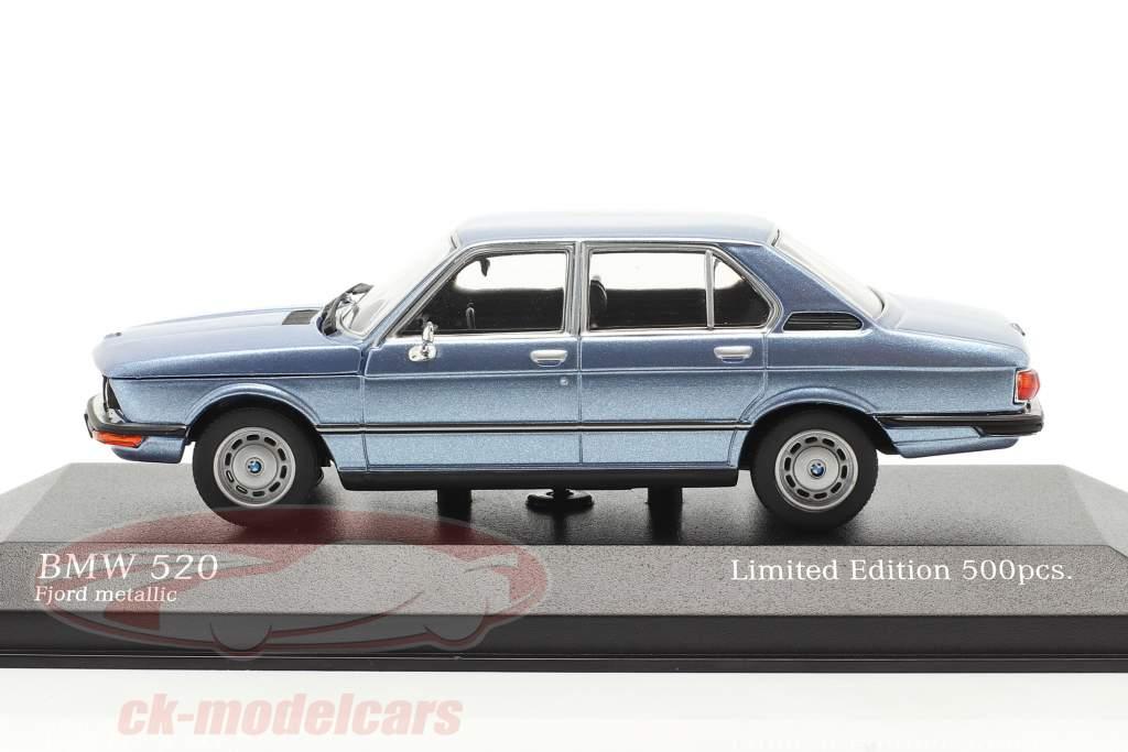 BMW 520 Byggeår 1974 fjord blå metallisk 1:43 Minichamps