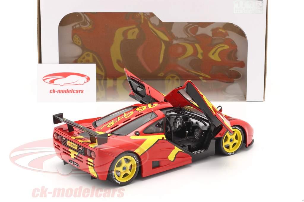 McLaren F1 GTR Ano de construção 1996 vermelho / amarelo 1:18 Solido