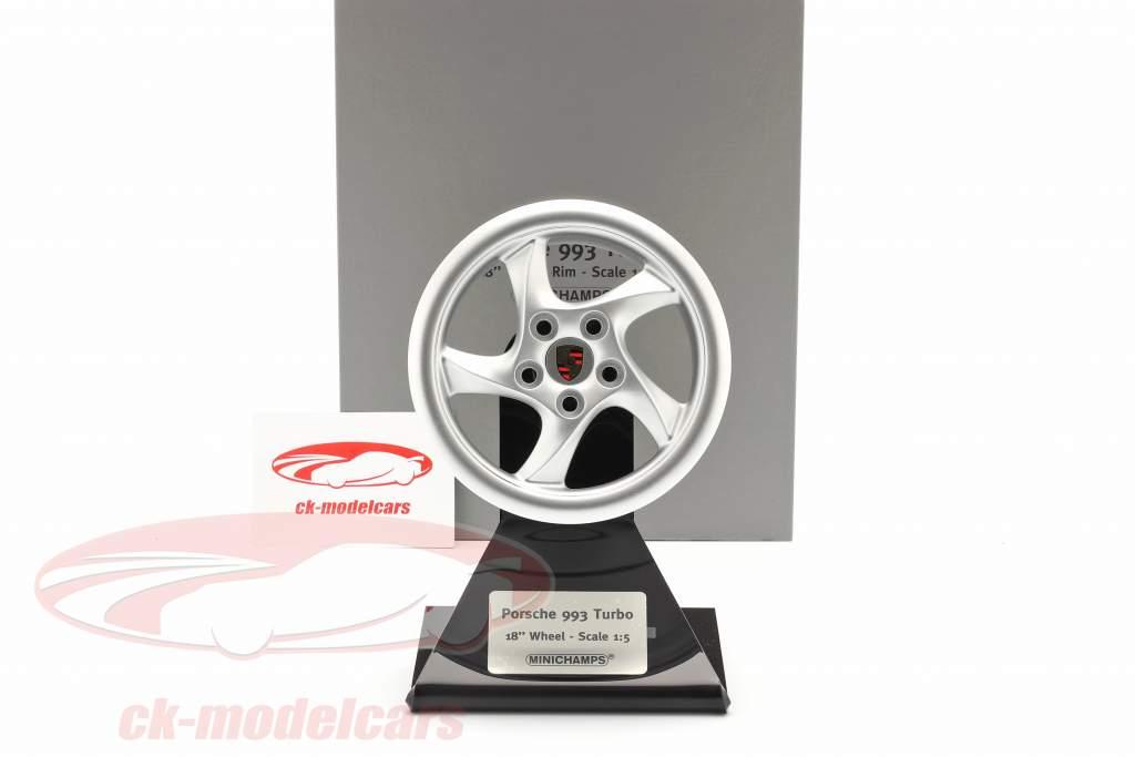 Porsche 911 (993) Turbo 1995 wheel rim 18 inch silver 1:5 Minichamps