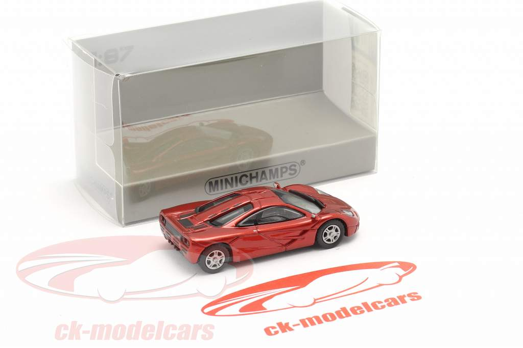 McLaren F1 Roadcar 1994 vermelho metálico 1:87 Minichamps