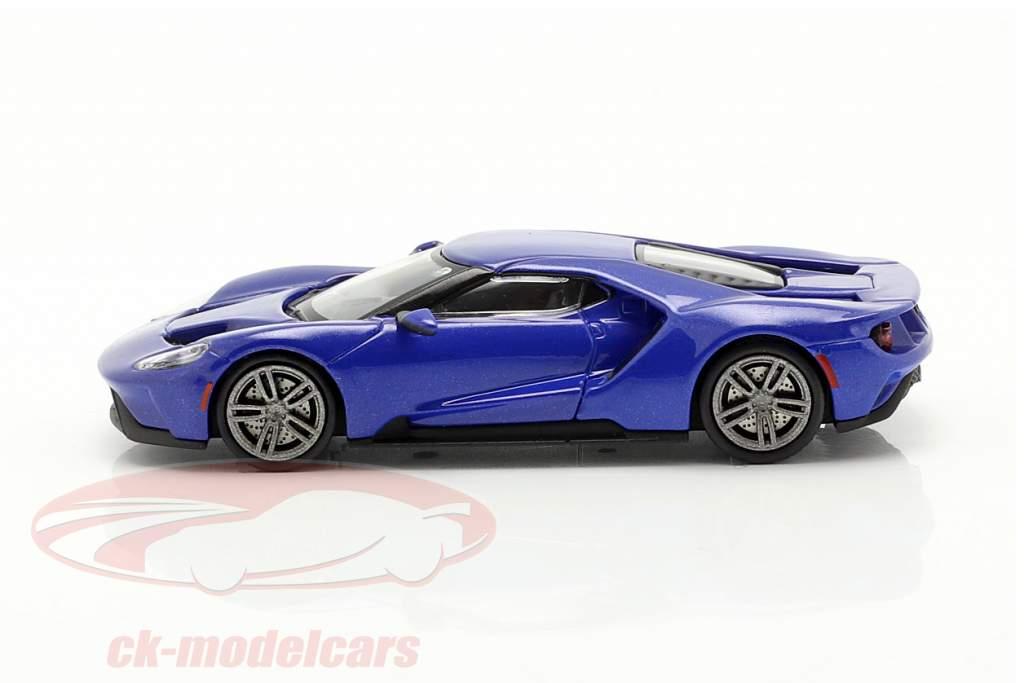 Ford GT Bouwjaar 2018 blauw metalen 1:87 Minichamps