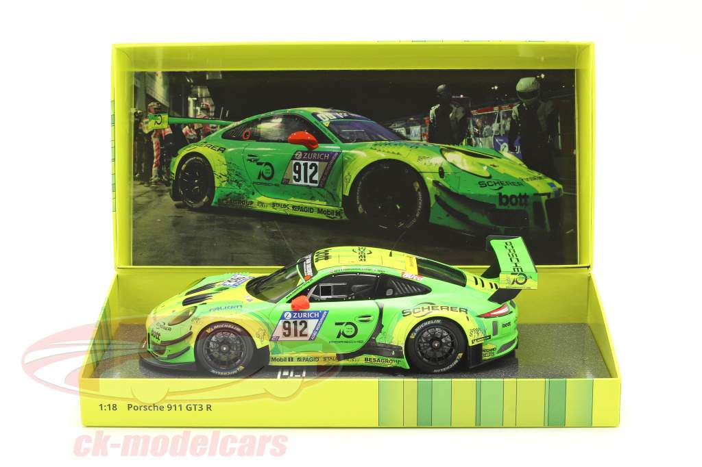 Porsche 911 (991) GT3 R #912 Vencedora 24h Nürburgring 2018 Manthey Grello 1:18 Minichamps