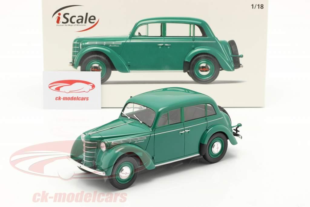 Moskvich 400 Byggeår 1946 grøn 1:18 iScale