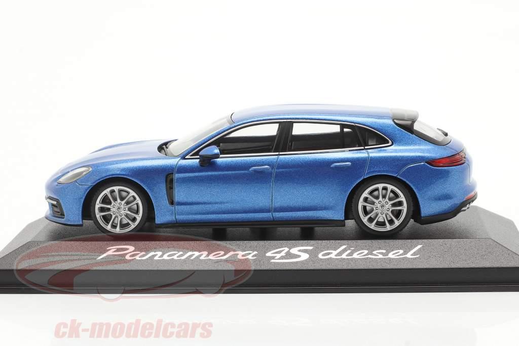 Porsche Panamera 4S Diesel blu metallico 1:43 Minichamps