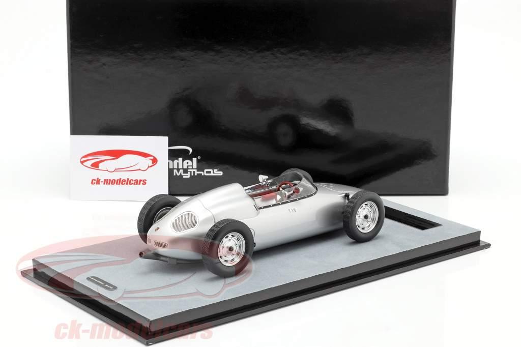 Porsche 718 F2 Trykke version 1960 sølv 1:18 Tecnomodel