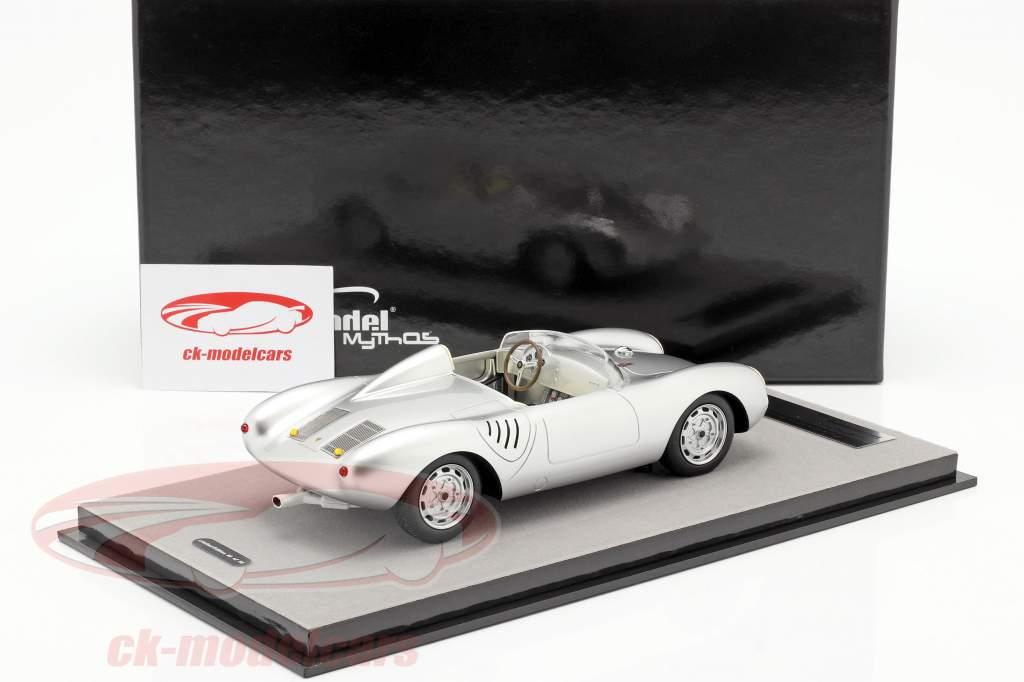 Porsche 550A RS druk op versie 1957 zilver metalen 1:18 Tecnomodel