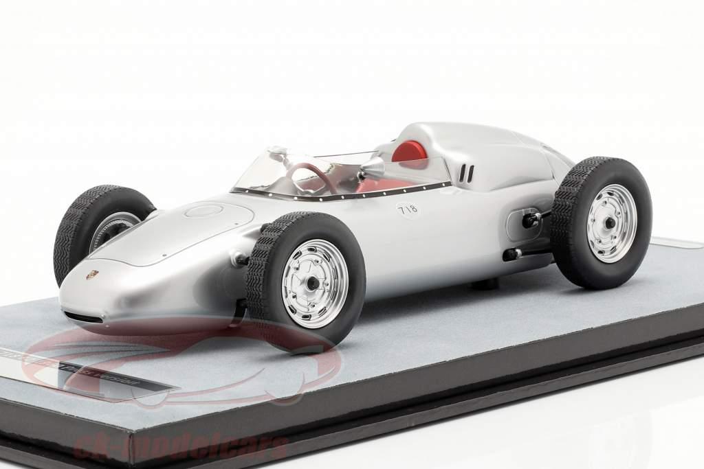 Porsche 718 F2 druk op versie 1960 zilver 1:18 Tecnomodel