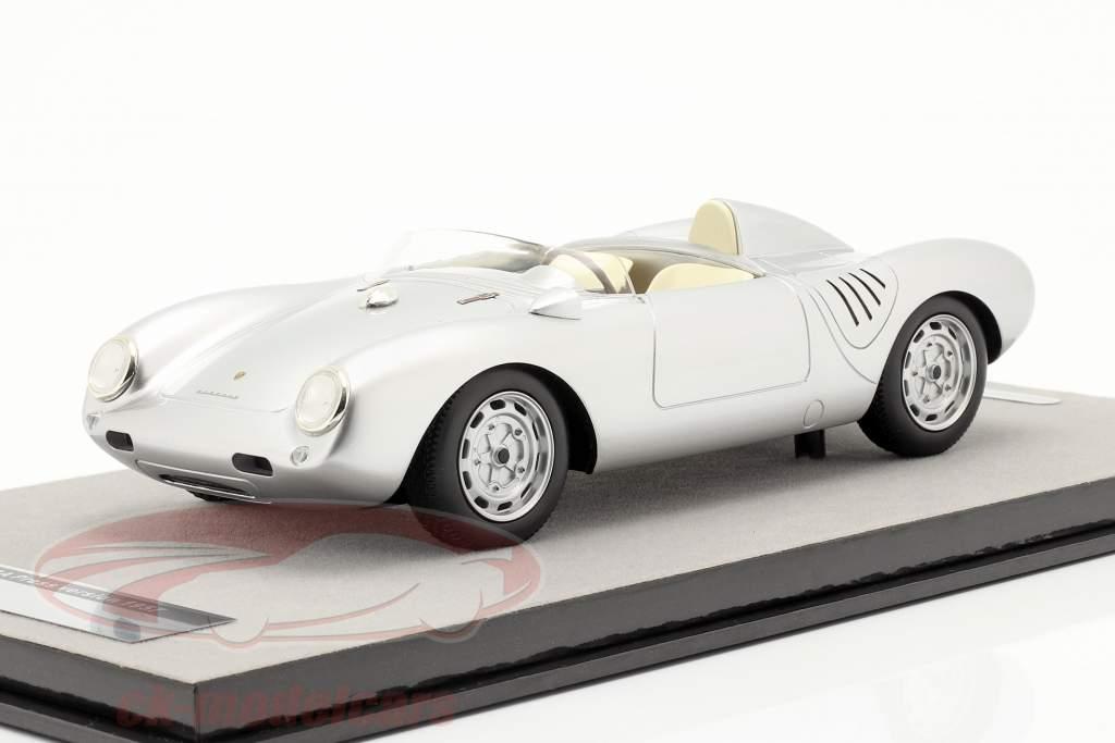 Porsche 550A RS pressione versão 1957 prata metálico 1:18 Tecnomodel