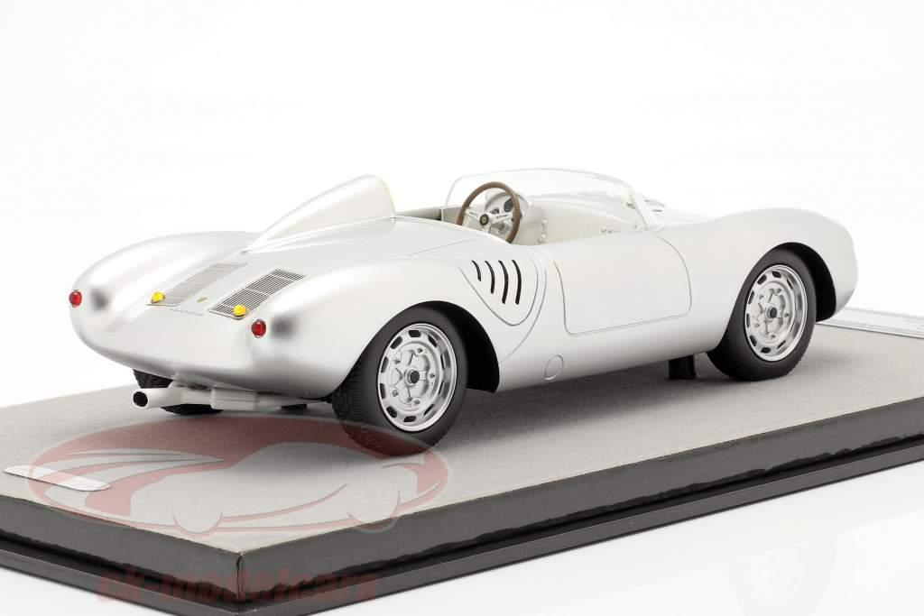 Porsche 550A RS Trykke version 1957 sølv metallisk 1:18 Tecnomodel