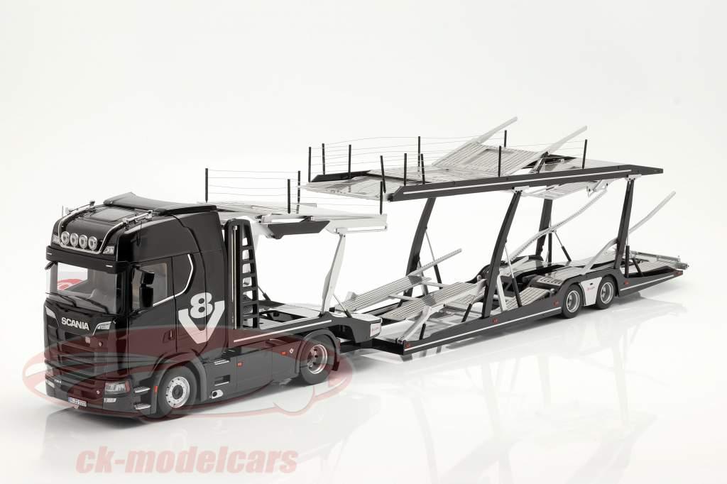 Set Scania V8 730S nero Con Lohr Bisarca nero / argento 1:18 NZG