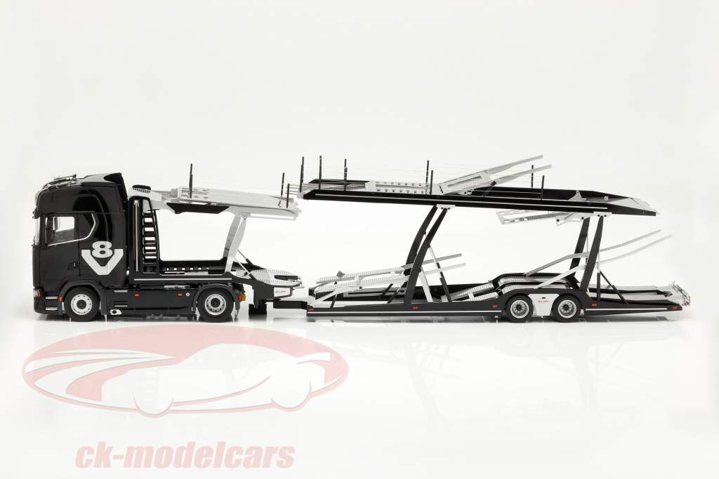 Set Scania V8 730S Preto Com Lohr Transportador de carro Preto / prata 1:18 NZG