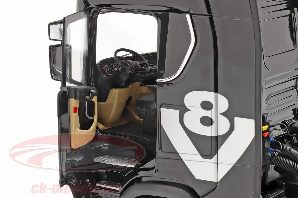 Set Scania V8 730S sort Med Lohr Biltransportør sort / sølv 1:18 NZG