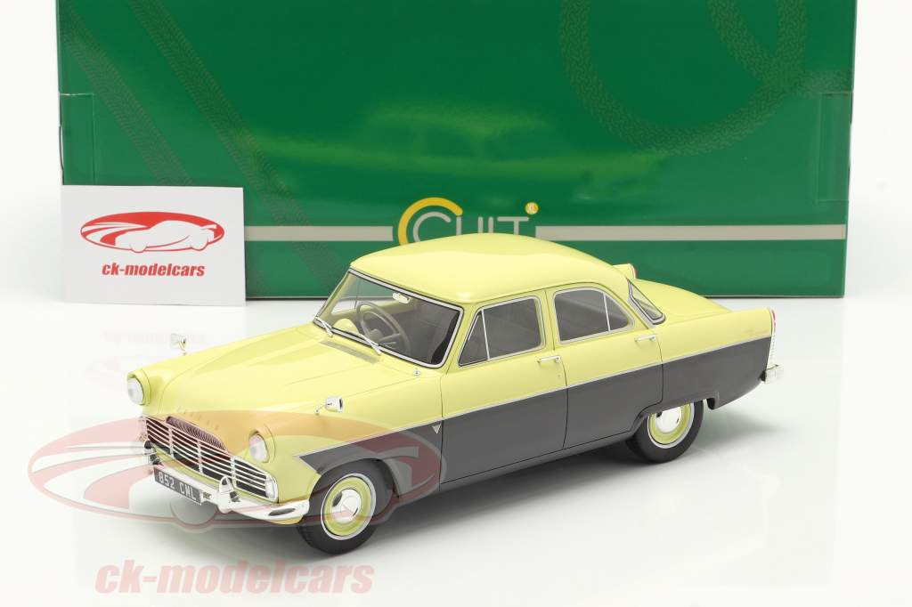 Ford Zodiac 206E Byggeår 1957 gul / mørkegrå 1:18 Cult Scale