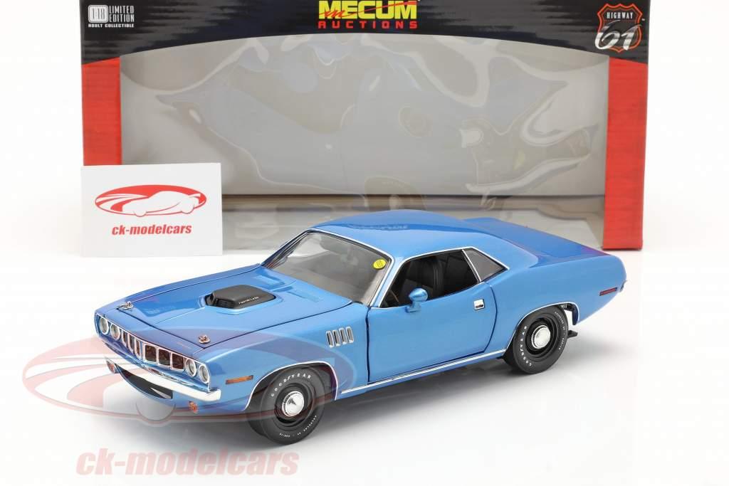Plymouth Hemi Cuda bouwjaar 1971 blauw metallic 1:18 Highway61