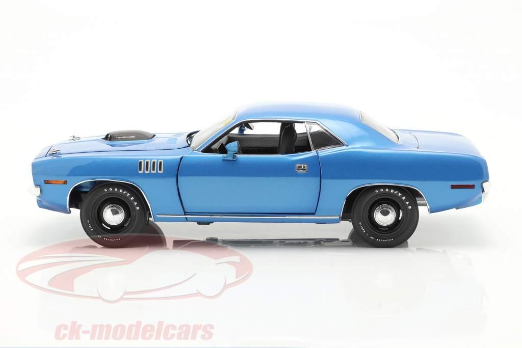 Plymouth Hemi Cuda ano 1971 azul metálico 1:18 Highway61
