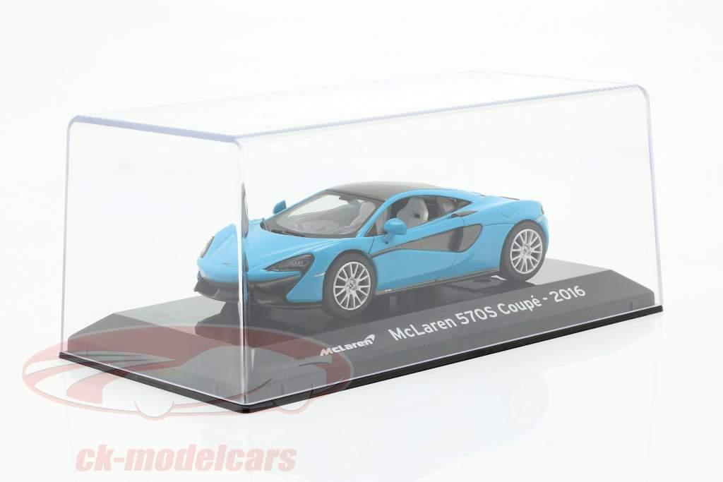 McLaren 570S Coupe Bouwjaar 2016 blauw metalen / zwart 1:43 Altaya