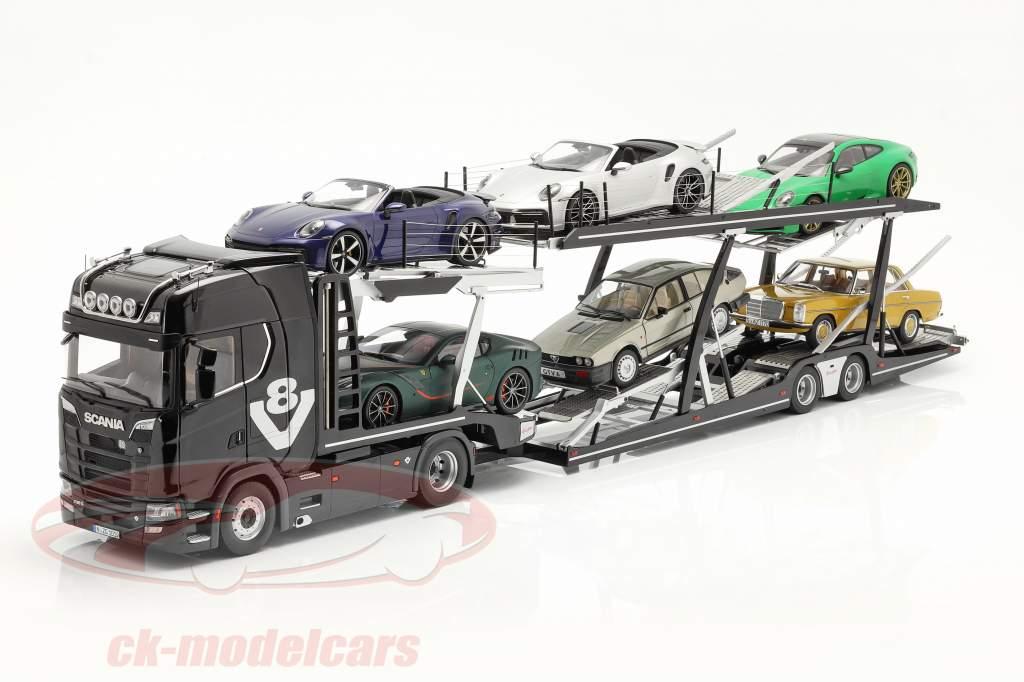 Set Scania V8 730S negro Con Lohr Transportador de coches negro / plata 1:18 NZG