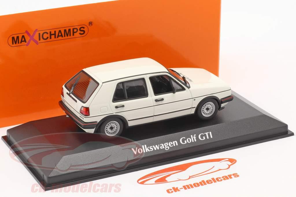 Volkswagen VW Golf II GTi 4-dørs Byggeår 1985 hvid 1:43 Minichamps