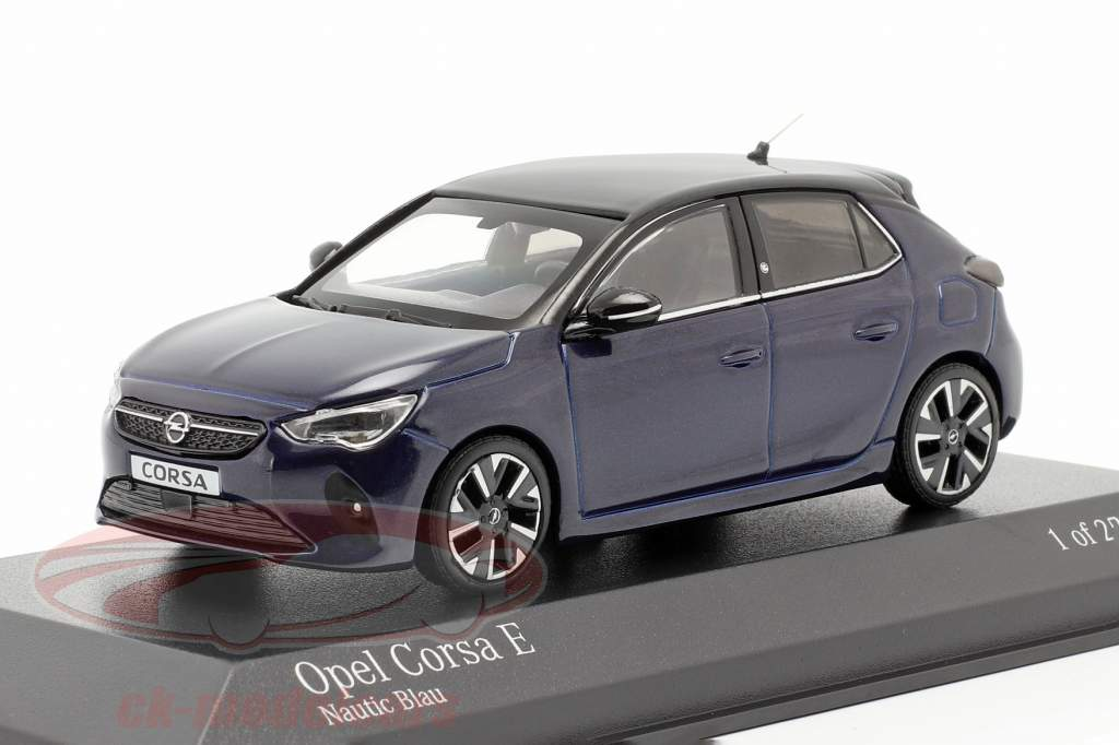 Opel Corsa E Année de construction 2019 bleu métallique 1:43 Minichamps