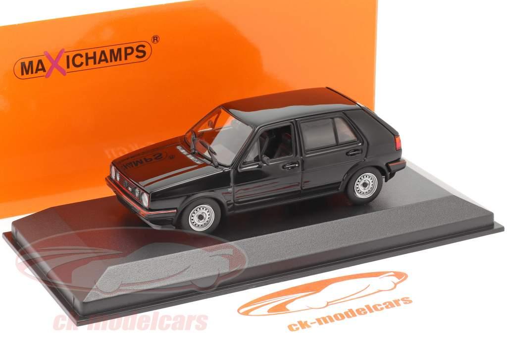 Volkswagen VW Golf II GTi 4 porte Anno di costruzione 1985 nero 1:43 Minichamps