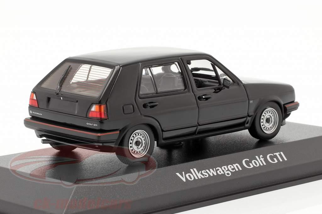 Volkswagen VW Golf II GTi 4-dørs Byggeår 1985 sort 1:43 Minichamps