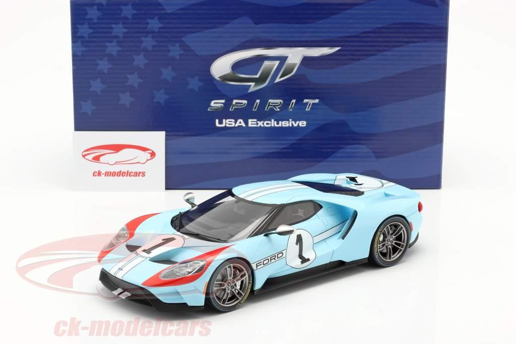 Ford GT Heritage Edition 2020 #1 gulf blu / arancia 1:18 GT-Spirit