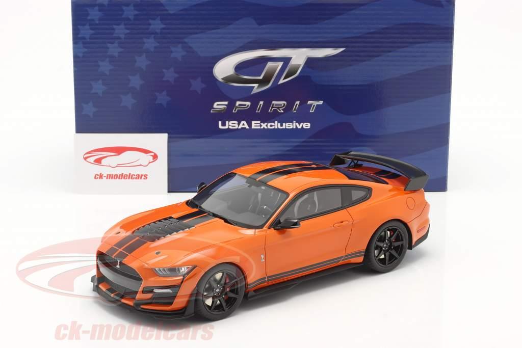 Ford Mustang Shelby GT500 Año de construcción 2020 twister naranja / negro 1:18 GT-Spirit