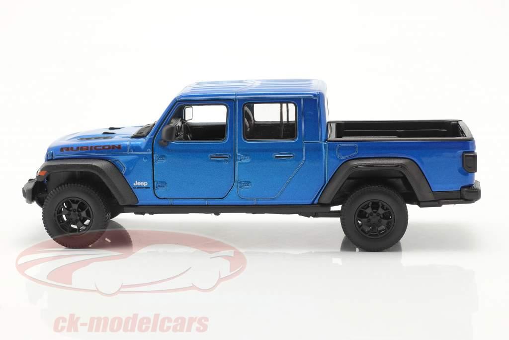 Jeep Gladiator Rubicon Pick-Up Année de construction 2020 bleu métallique 1:24 Welly