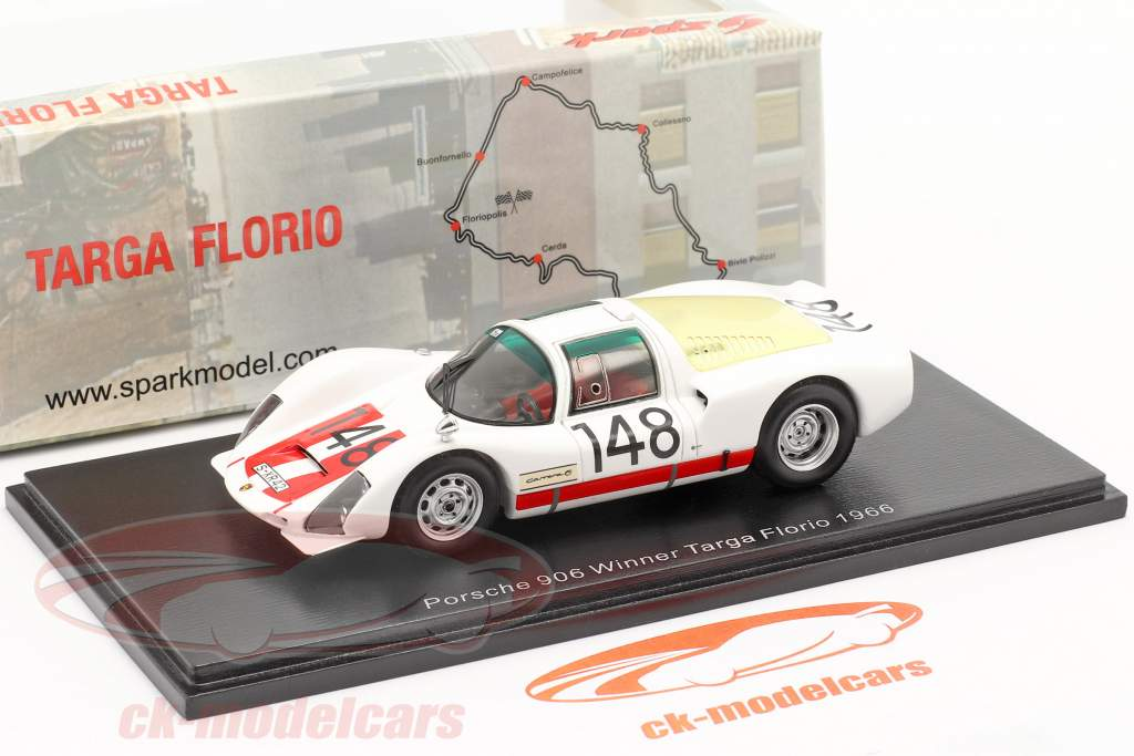 Porsche 906 #148 vencedora Targa Florio 1966 Mairesse, Müller 1:43 Spark