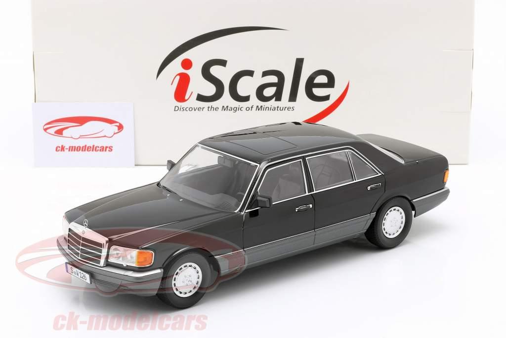 Mercedes-Benz 560 SEL S-klasse (W126) Bouwjaar 1985 zwart / Grijs 1:18 iScale