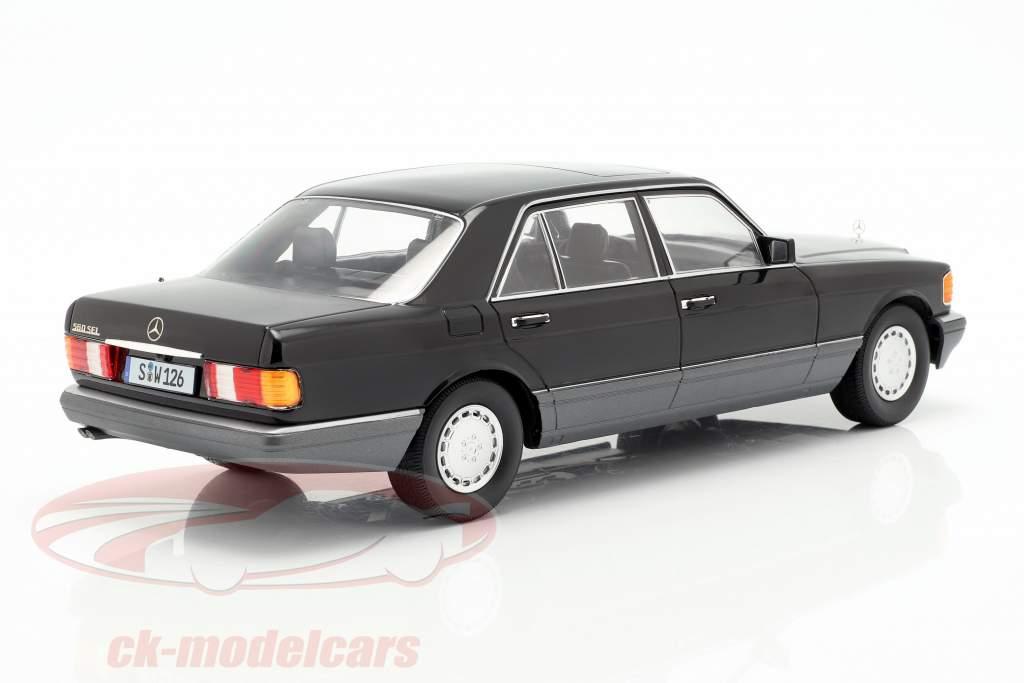 Mercedes-Benz 560 SEL Clase S (W126) Año de construcción 1985 negro / gris 1:18 iScale