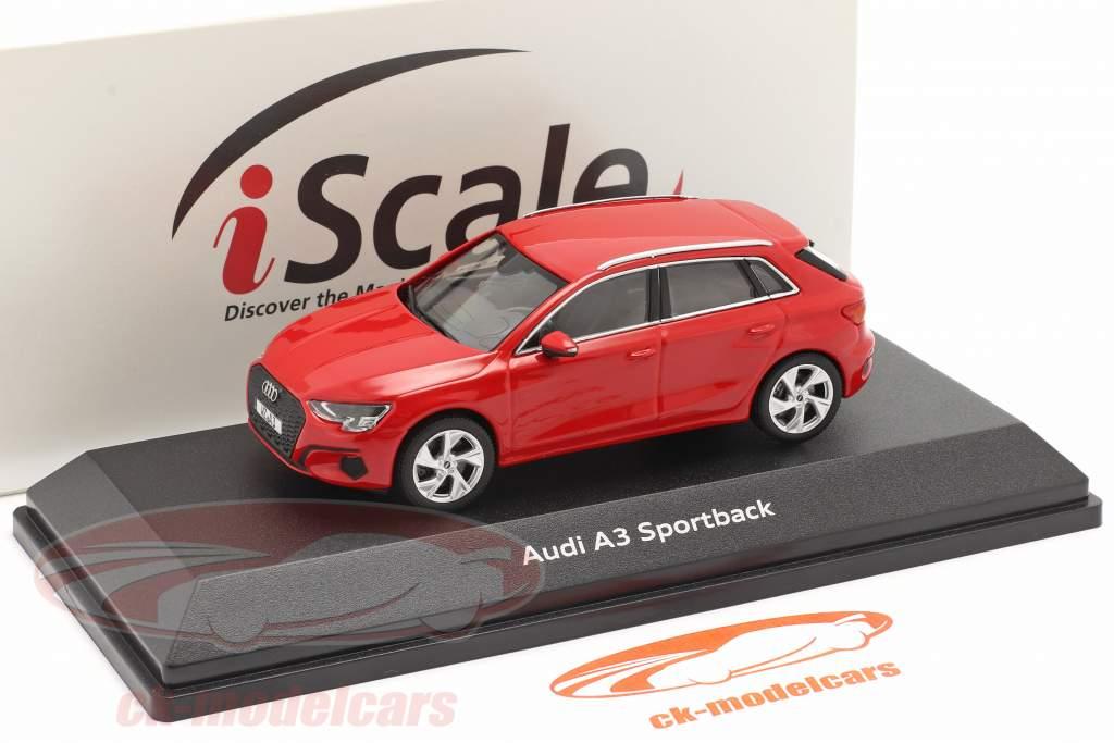 Audi A3 Sportback Byggeår 2020 tango rød 1:43 iScale