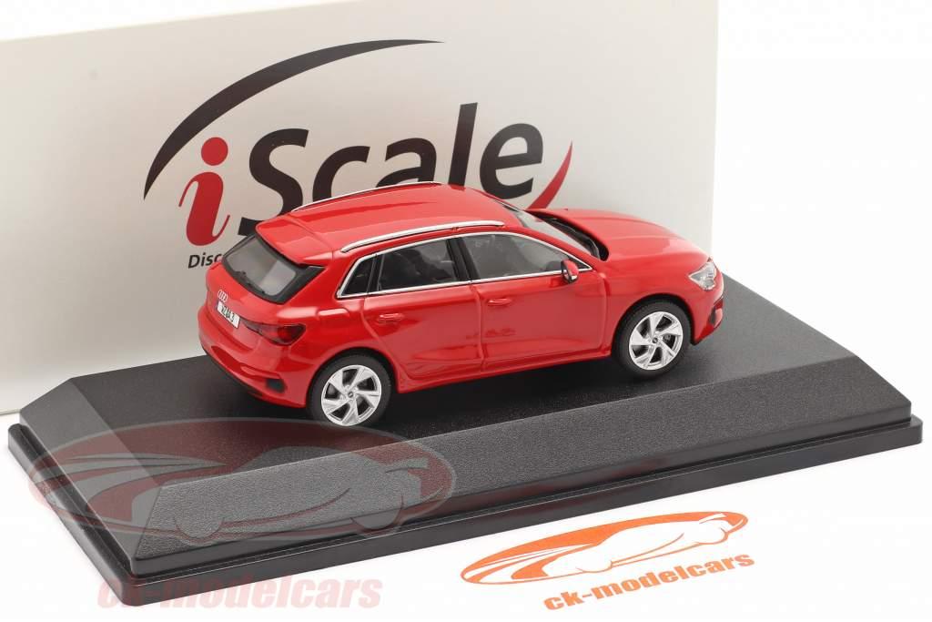 Audi A3 Sportback Bouwjaar 2020 tango rood 1:43 iScale