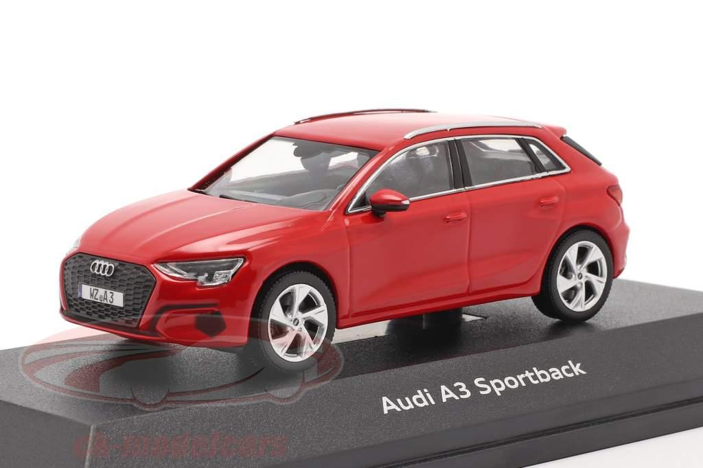 Audi A3 Sportback Baujahr 2020 tango rot 1:43 iScale