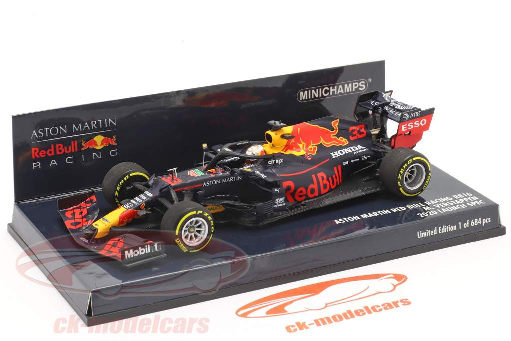 M. Verstappen Red Bull Racing RB16 #33 Launch Spec formula 1 2020 1:43 Minichamps