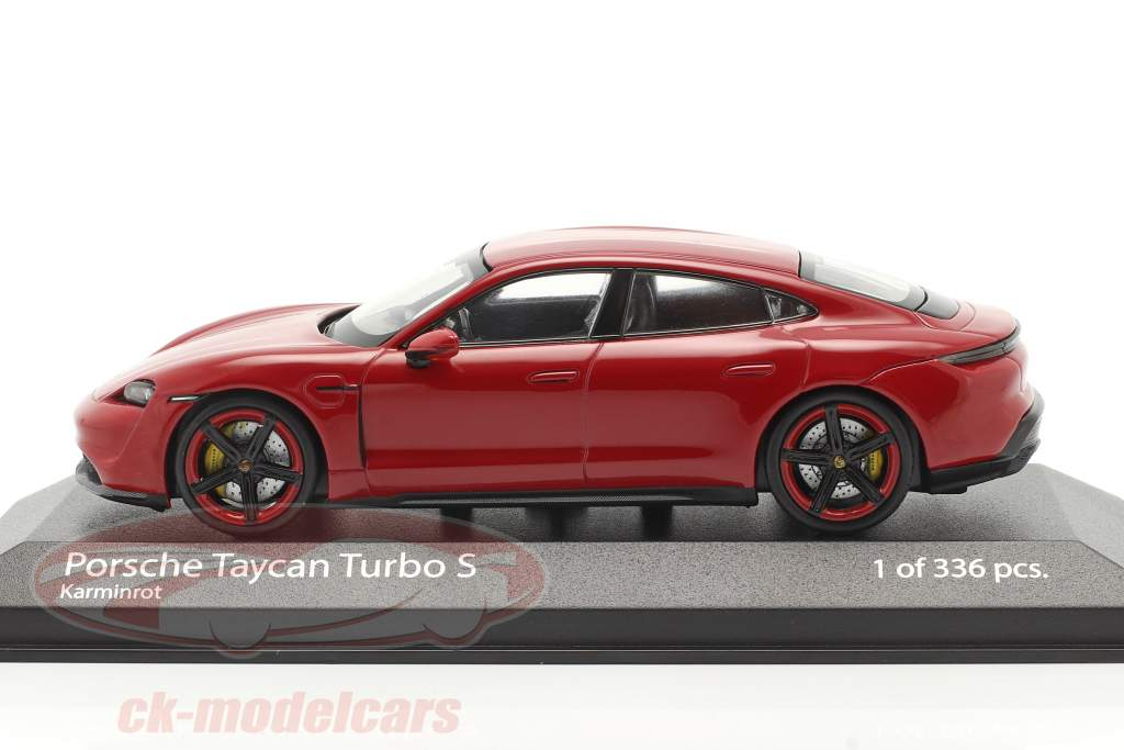 Porsche Taycan Turbo S year 2020 carmine red 1:43 Minichamps