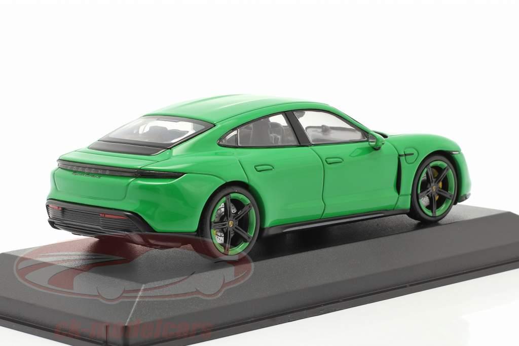 Porsche Taycan Turbo S Bouwjaar 2020 mamba groen metalen 1:43 Minichamps