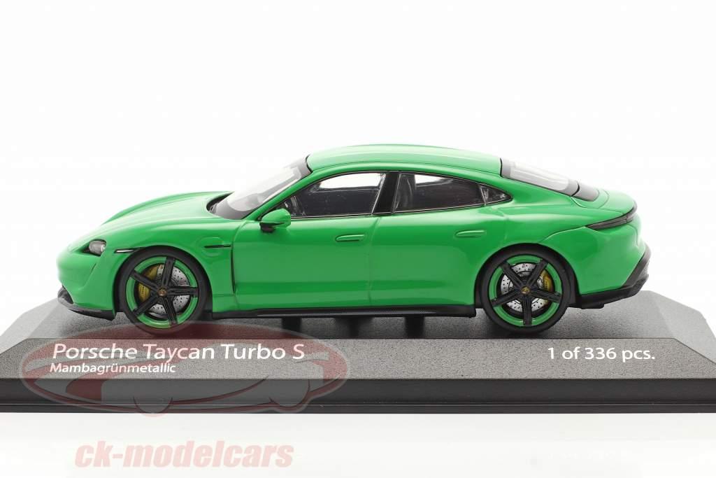 Porsche Taycan Turbo S Ano de construção 2020 mamba verde metálico 1:43 Minichamps