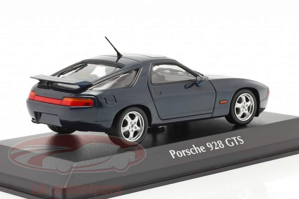Porsche 928 GTS Bouwjaar 1991 blauw groen metalen 1:43 Minichamps