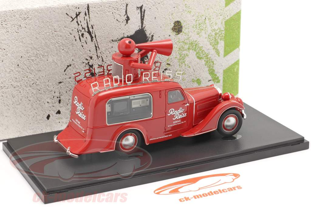 Steyr XX Sales car Radio Reiss 1929 red 1:43 AutoCult