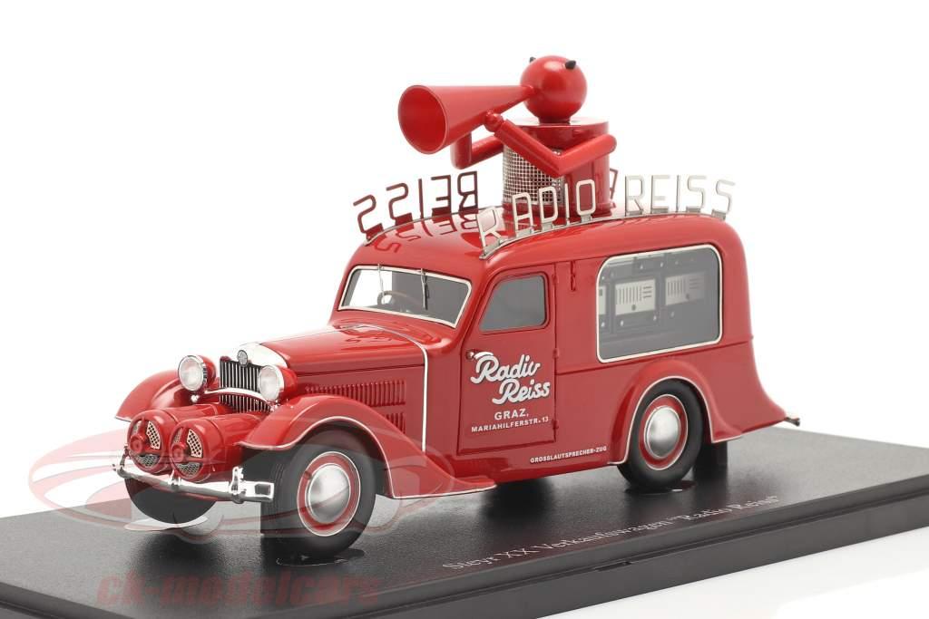 Steyr XX Verkoop auto Radio Reiss 1929 rood 1:43 AutoCult