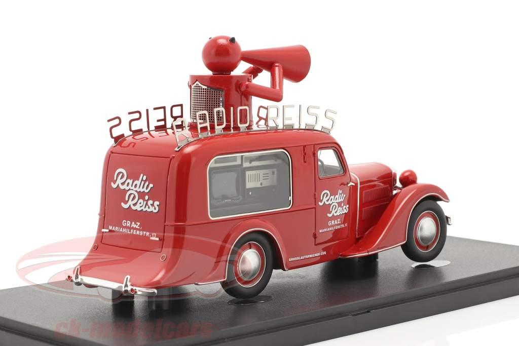 Steyr XX Verkaufswagen Radio Reiss 1929 rot 1:43 AutoCult