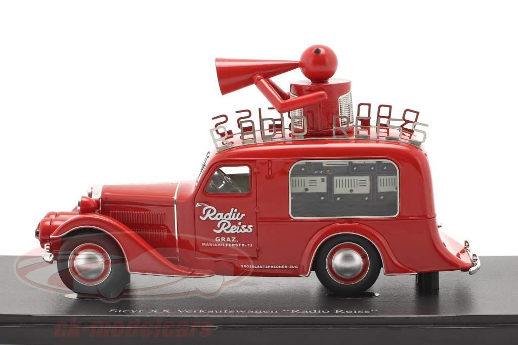 Steyr XX Salgsbil Radio Reiss 1929 rød 1:43 AutoCult