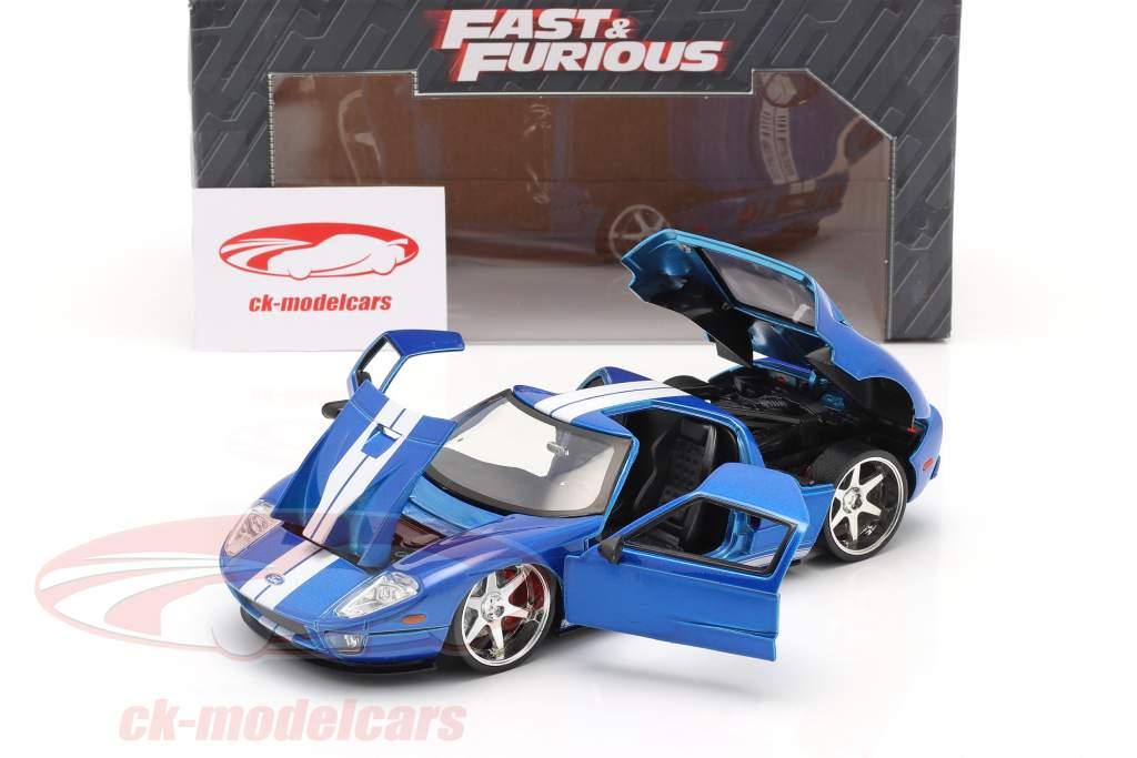 Ford GT Film Fast and Furious 7 2015 bleu / blanc 1:24 Jada Toys