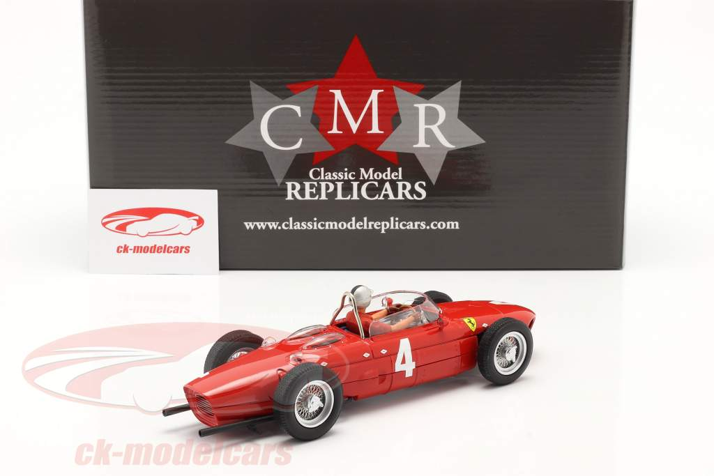 Set: Ferrari 156 Sharknose #4 vincitore Britannico GP 1961 con conducente figura 1:18 CMR