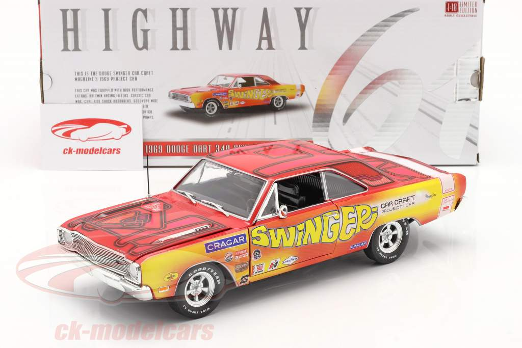 Highway 61 Collectibles 1 18 Dodge Dart 340 Swinger 1969 Car Craft Project Car Yellow Pink Highway61 Hwy18024 Model Car Hwy18024 810027491442