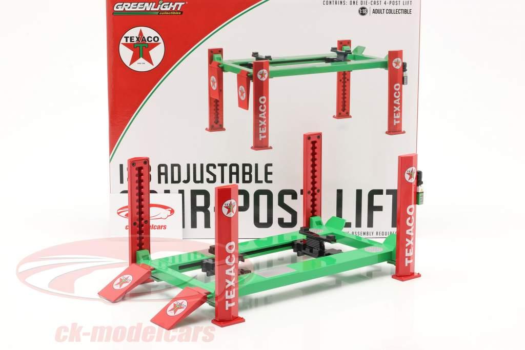 Ajustável four post Plataforma de elevação Texaco verde / vermelho 1:18 Greenlight